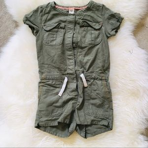 Oshkosh girls utility romper shorts khaki 4 one pc